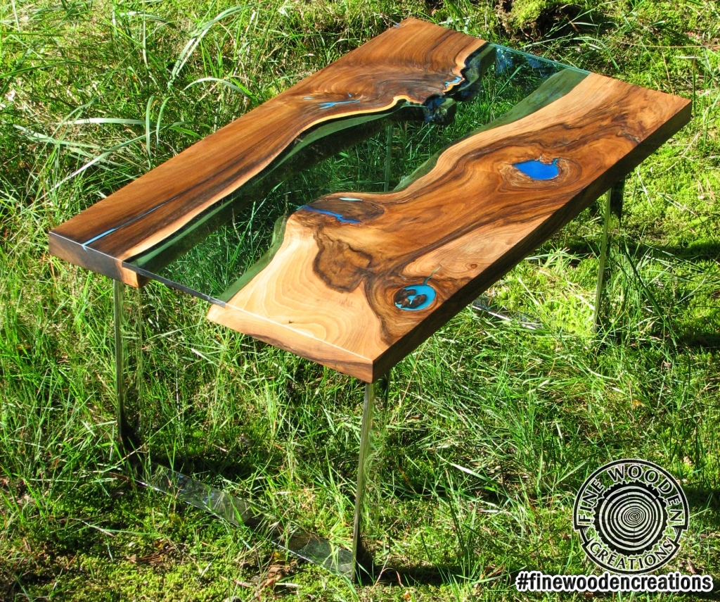 Live Edge River Coffee Table Blue Hole Glowing In The Dark