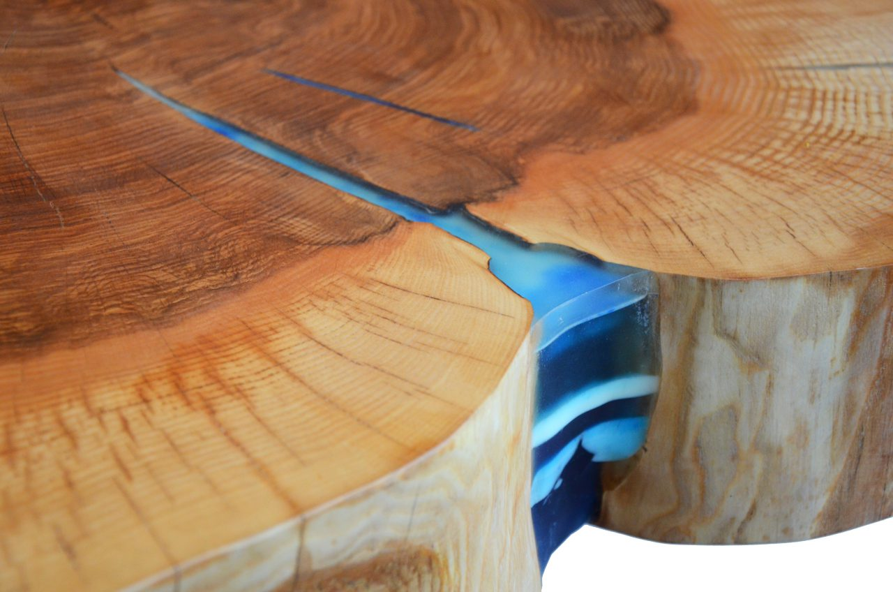 Round Sliced Live Edge Coffee Table On Hairpin Style