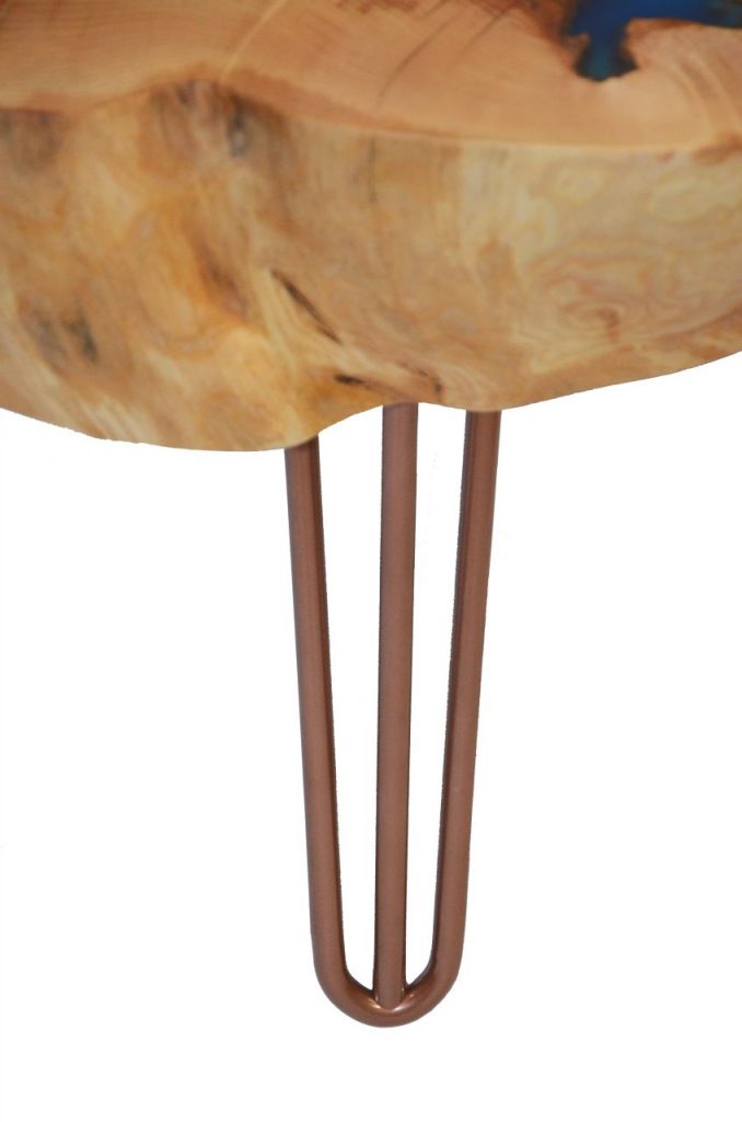Round sliced live edge coffee table on hairpin style ...