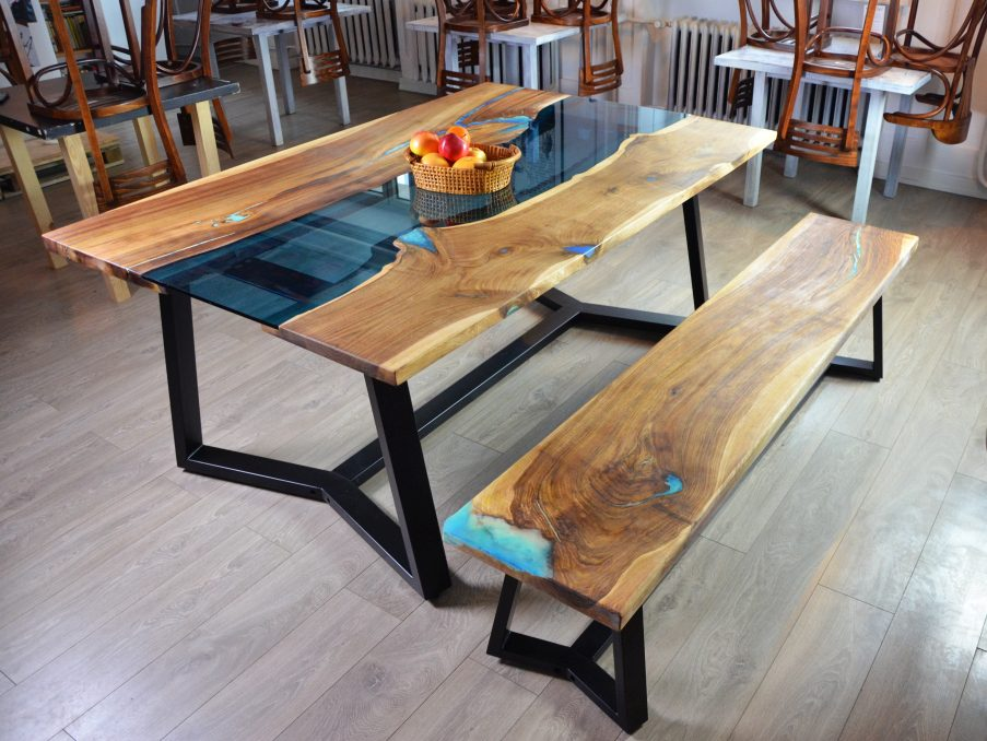 Live edge river dining table with bench