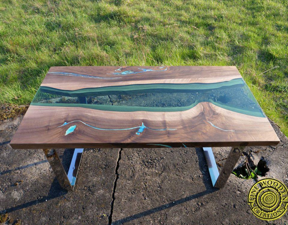 Live edge waterfall green river coffee table with for Waterfall design coffee table