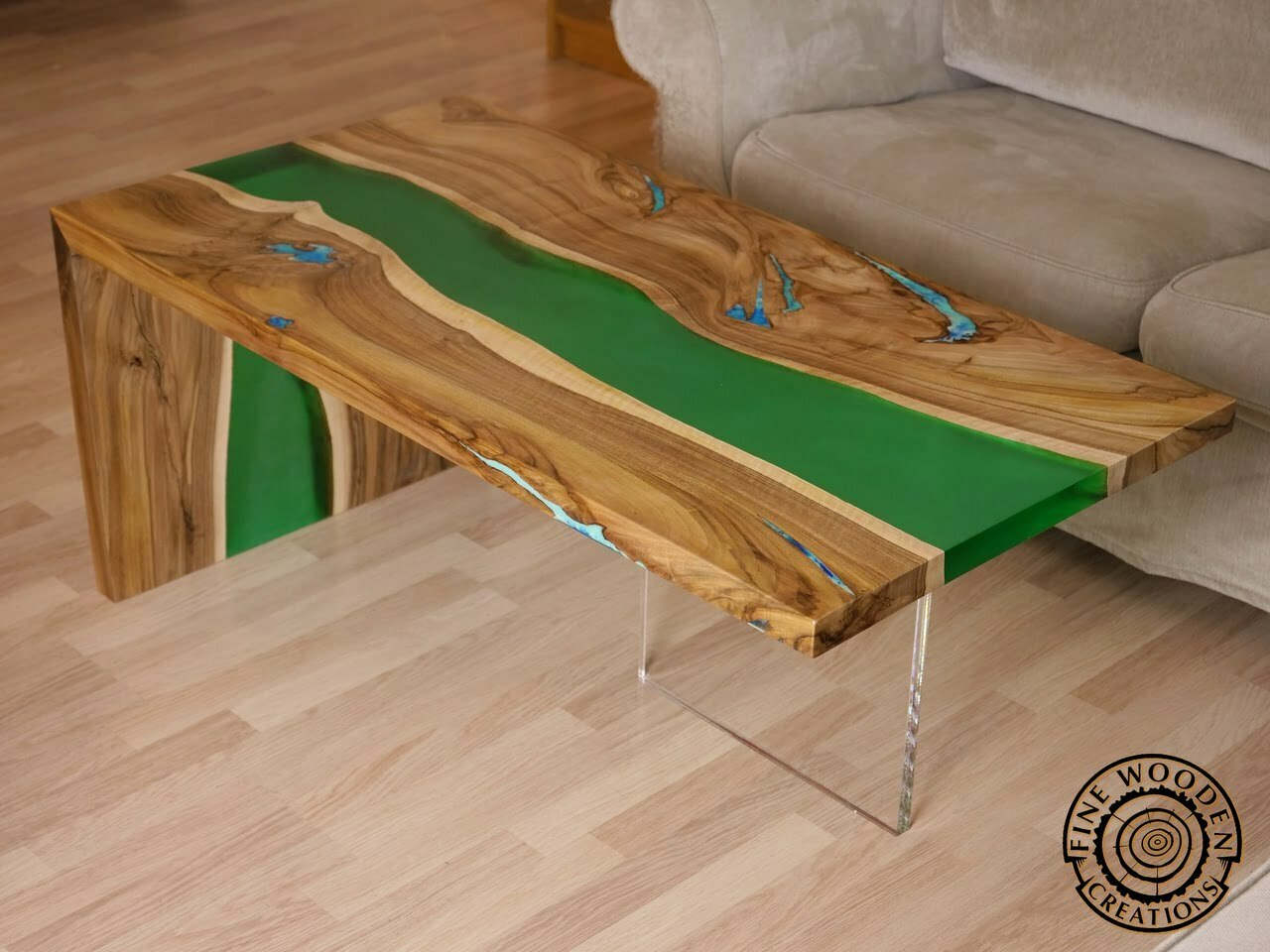 Live Edge Green Waterfall River Coffee Table With Transparent Leg Fine Wooden Creations