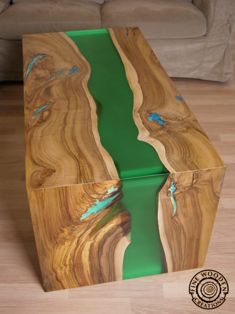 Live Edge Green Waterfall River Coffee Table With Transparent