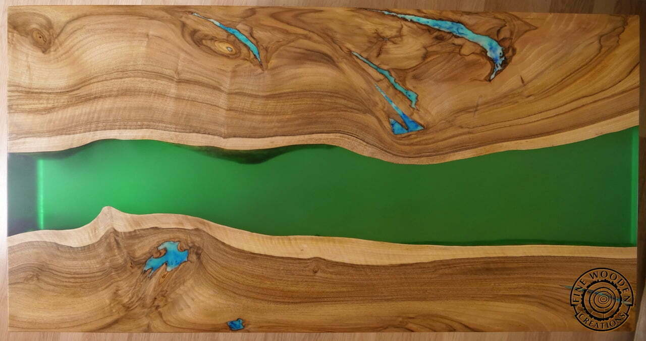 live edge  u0026quot green waterfall u0026quot  river coffee table with transparent leg