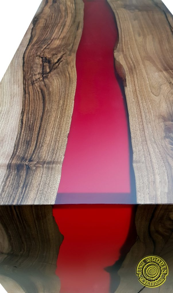 Quot Double Waterfall Quot River Coffee Table With Bordo Resin River Fine Wooden Creations