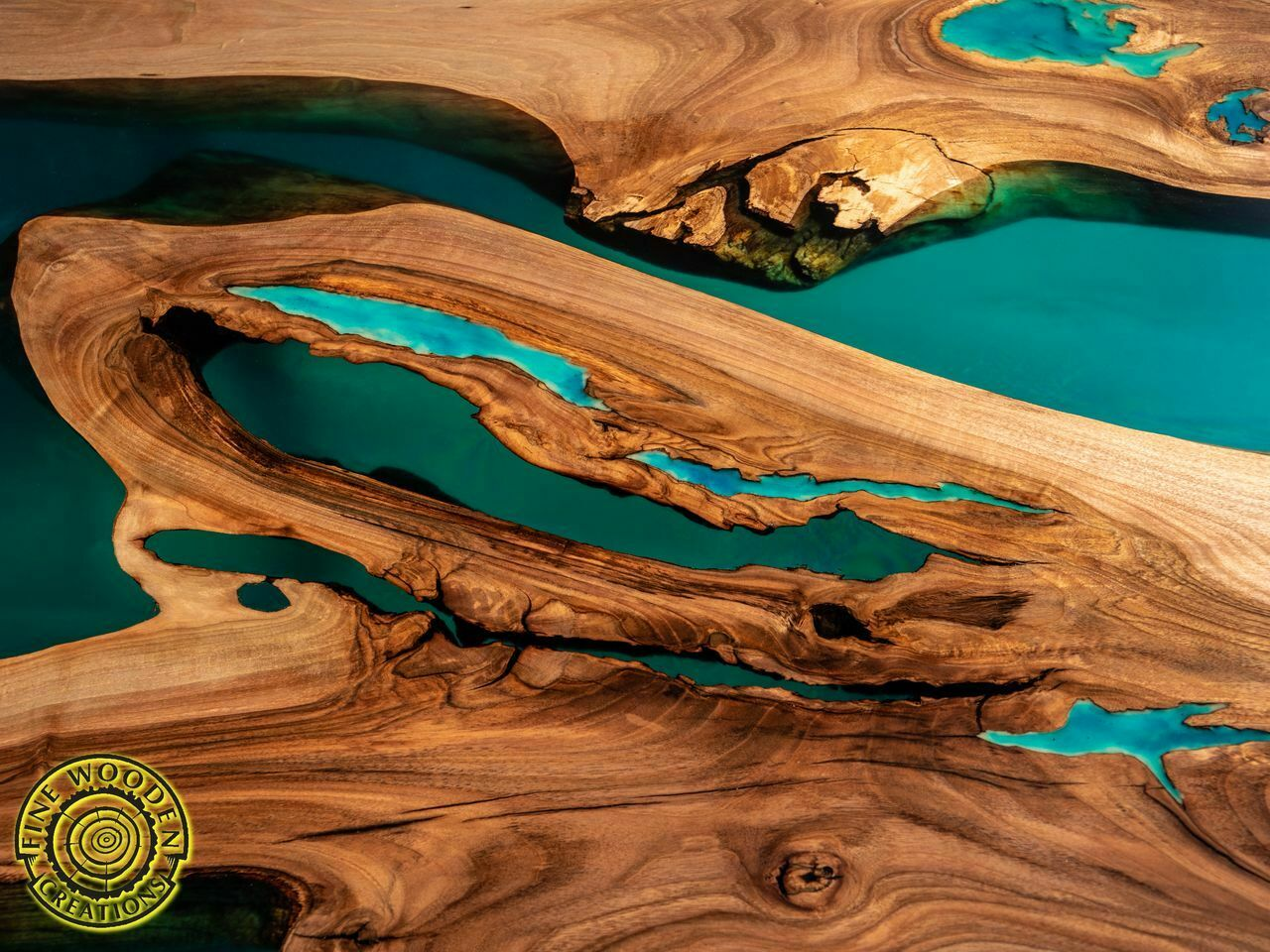 Turquoise Resin Dining Table With Glowing Inlay Fine